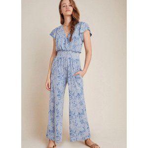 Anthro Dolan Maisie Textured Floral Jumpsuit Sz XL